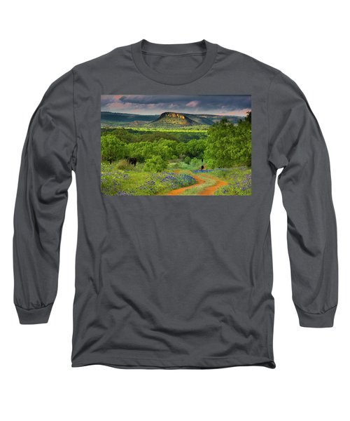 Texas Hill Country Ranch Road Long Sleeve T-Shirt by Darryl Dalton