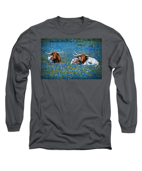 Texas In Blue Long Sleeve T-Shirt by Linda Unger