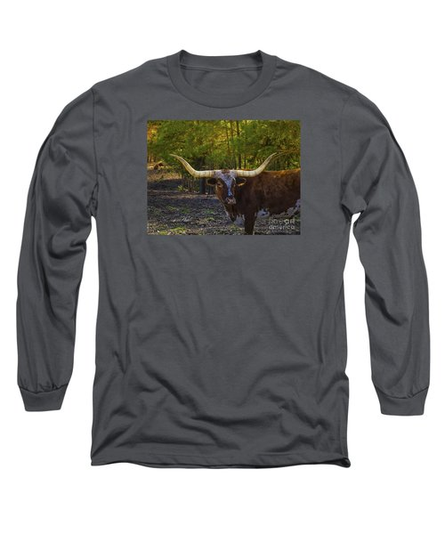 Long Sleeve T-Shirt featuring the photograph Texas Long Horn Bull by Melissa Messick