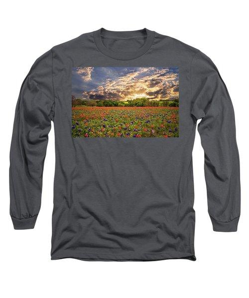 Texas Wildflowers Under Sunset Skies Long Sleeve T-Shirt by Lynn Bauer