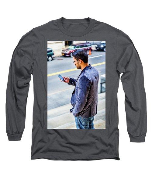 Man Texting Long Sleeve T-Shirt