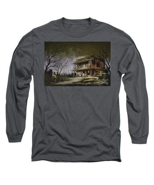 Long Sleeve T-Shirt featuring the painting The Abandoned House by Tithi Luadthong