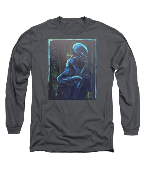 Long Sleeve T-Shirt featuring the painting The Alien Thinker by Similar Alien