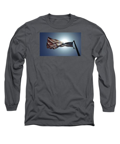 Long Sleeve T-Shirt featuring the photograph The American Flag by Alex King