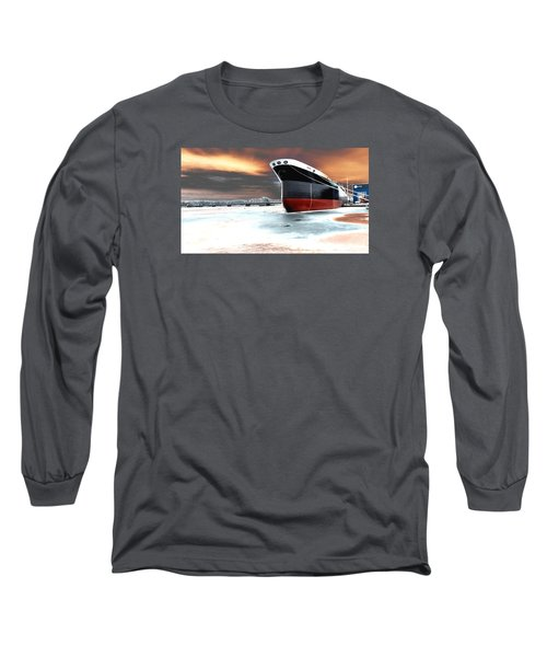 The Ship And The Steel Bridge. Long Sleeve T-Shirt by Jake Whalen