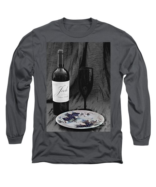 The Art Of Wine And Grapes Long Sleeve T-Shirt by Sherry Hallemeier