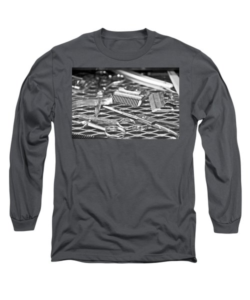 The Barber Shop 10 Bw Long Sleeve T-Shirt by Angelina Vick
