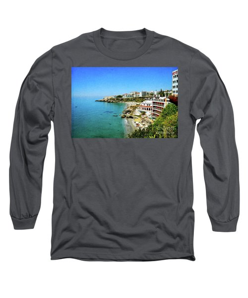 Long Sleeve T-Shirt featuring the photograph The Beach - Nerja Spain by Mary Machare