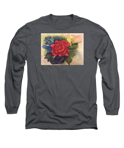 Long Sleeve T-Shirt featuring the painting The Beauty Of A Rose by Lucia Grilletto