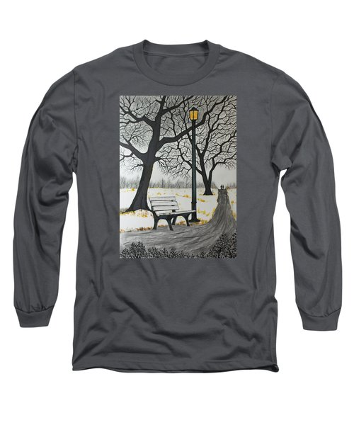 Long Sleeve T-Shirt featuring the drawing The Bench by Jack G  Brauer