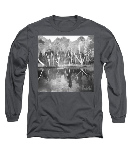 Long Sleeve T-Shirt featuring the painting The Black And White Autumn by Art Ina Pavelescu