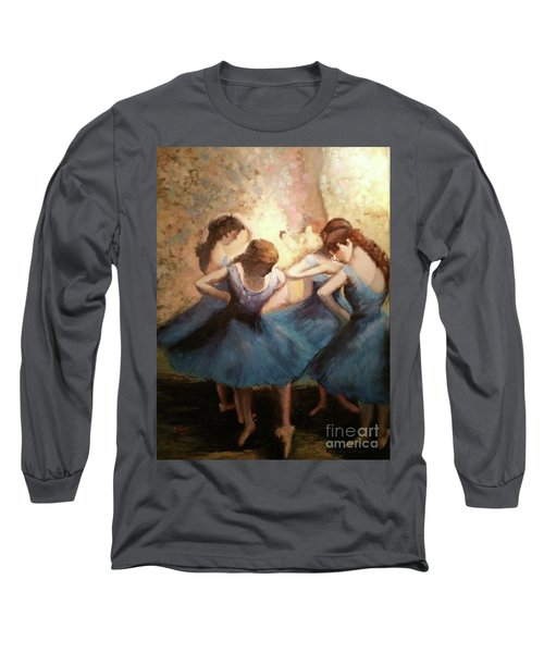 The Blue Ballerinas - A Edgar Degas Artwork Adaptation Long Sleeve T-Shirt