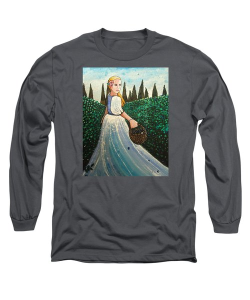 The Blueberry Harvest Long Sleeve T-Shirt by Mary Ellen Frazee