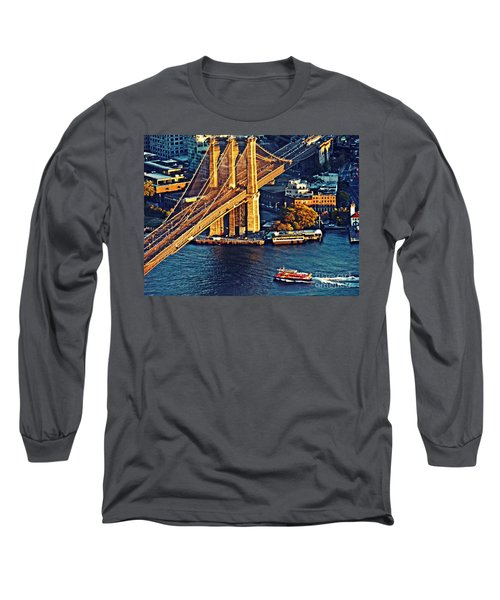 Long Sleeve T-Shirt featuring the photograph The Brooklyn Bridge At Sunset   by Sarah Loft