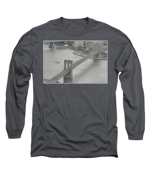 The Brooklyn Bridge From Above Long Sleeve T-Shirt by Dyle Warren