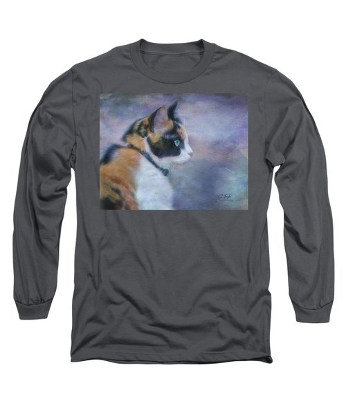 Long Sleeve T-Shirt featuring the digital art The Calico Staredown  by Colleen Taylor
