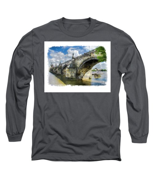Long Sleeve T-Shirt featuring the photograph The Charles Bridge - Prague by Tom Cameron