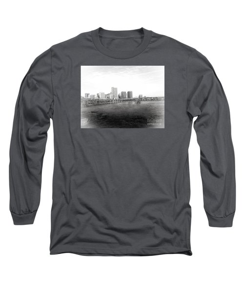 The City Of Richmond Black And White Long Sleeve T-Shirt by Melissa Messick