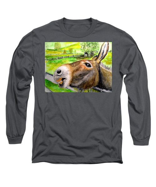 Long Sleeve T-Shirt featuring the painting The Country Mule by Carol Grimes