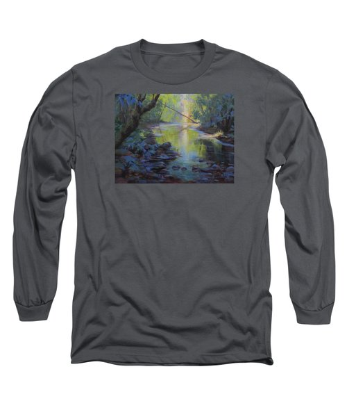 Long Sleeve T-Shirt featuring the painting The Creek by Karen Ilari