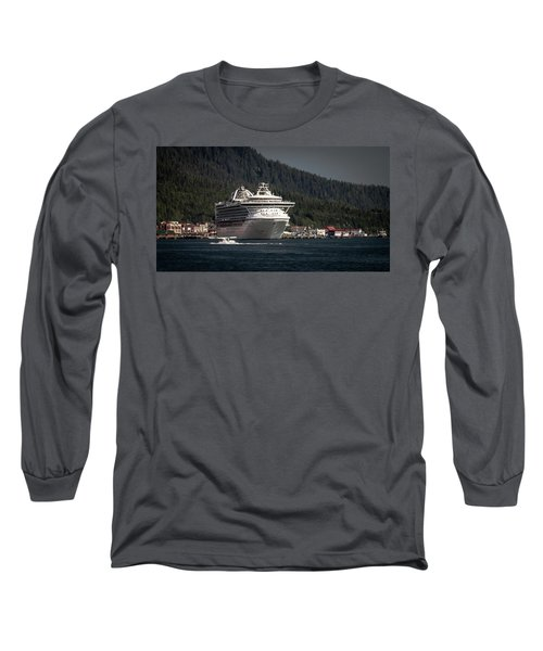 Long Sleeve T-Shirt featuring the photograph The Cruise Ship And The Plane by Timothy Latta
