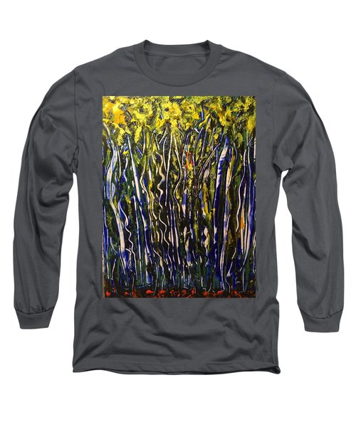 Long Sleeve T-Shirt featuring the painting The Dancing Garden by Kicking Bear Productions