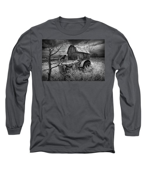 Long Sleeve T-Shirt featuring the photograph The Decline And Death Of The Small Farm In Black And White by Randall Nyhof