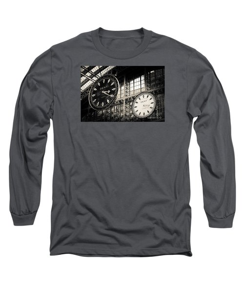 The Dent Clock And Replica At St Pancras Railway Station Long Sleeve T-Shirt