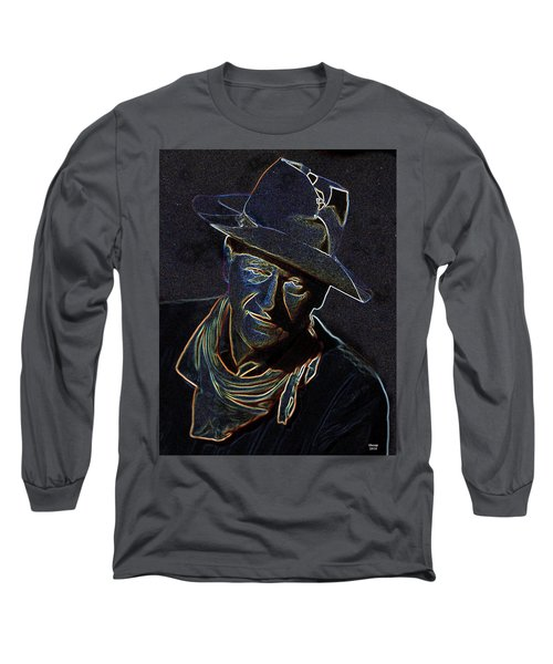 Long Sleeve T-Shirt featuring the mixed media The Duke by Charles Shoup