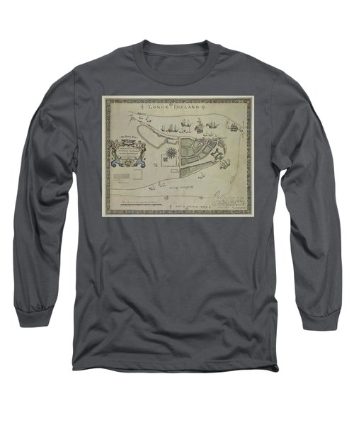 The Dukes Plan A Description Of The Town Of Mannados Or New Amsterdam 1664 Long Sleeve T-Shirt