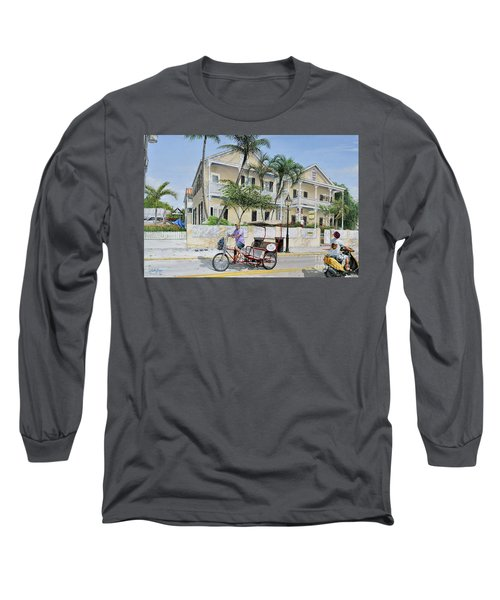 Long Sleeve T-Shirt featuring the painting The Duval House, Key West, Florida by Bob George
