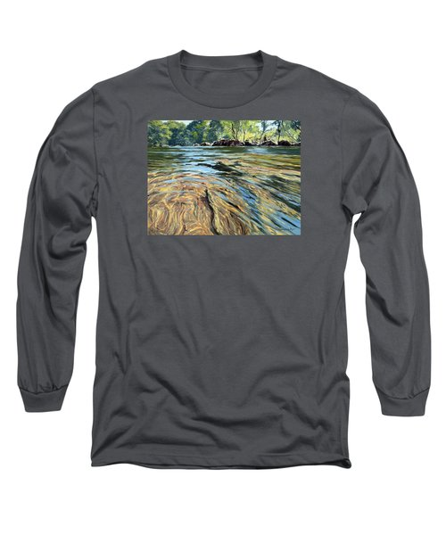 Long Sleeve T-Shirt featuring the painting The East Dart River Dartmoor by Lawrence Dyer