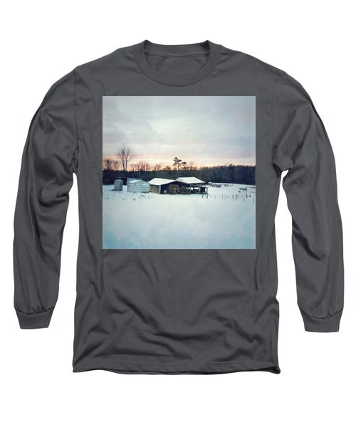 The Farm In Snow At Sunset Long Sleeve T-Shirt