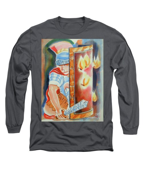 Long Sleeve T-Shirt featuring the painting The Fiery Darts Of The Evil One 3 by Kip DeVore