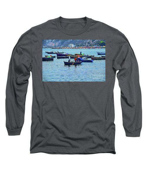 Long Sleeve T-Shirt featuring the photograph The Fishermen - Miraflores, Peru by Mary Machare