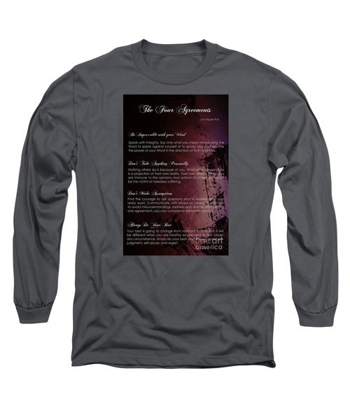 The Four Agreements 3 Long Sleeve T-Shirt by Andrea Anderegg