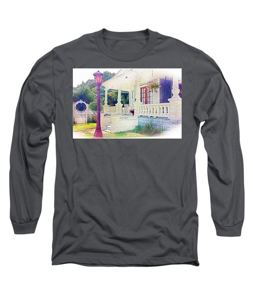 The Gate Porch And The Lamp Post Long Sleeve T-Shirt by Becky Lupe