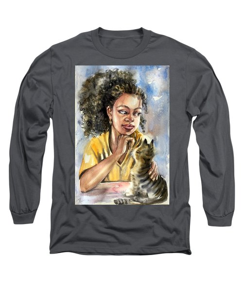 The Girl With A Cat Long Sleeve T-Shirt