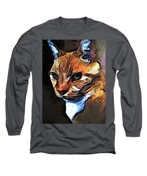 The Gold Cat With The Stage Presence Long Sleeve T-Shirt