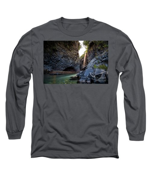 The Golden Waterfall Long Sleeve T-Shirt by Giuseppe Torre