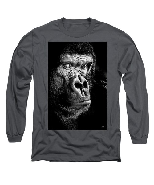 The Gorilla Large Canvas Art, Canvas Print, Large Art, Large Wall Decor, Home Decor Long Sleeve T-Shirt by David Millenheft