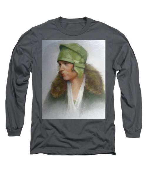 The Green Hat Long Sleeve T-Shirt by Janet McGrath
