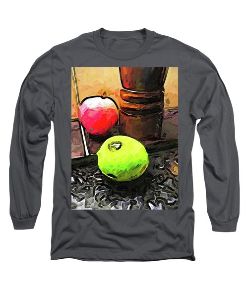 The Green Lime And The Apple With The Pepper Mill Long Sleeve T-Shirt
