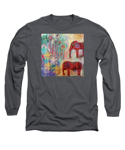 Long Sleeve T-Shirt featuring the mixed media The Guardians Of Night And Day by Mimulux patricia no No