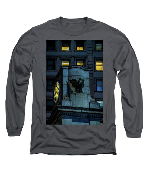 Long Sleeve T-Shirt featuring the photograph The Herald Square Owl by Chris Lord