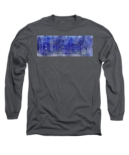 The History Of Baseball Patents Blue Long Sleeve T-Shirt