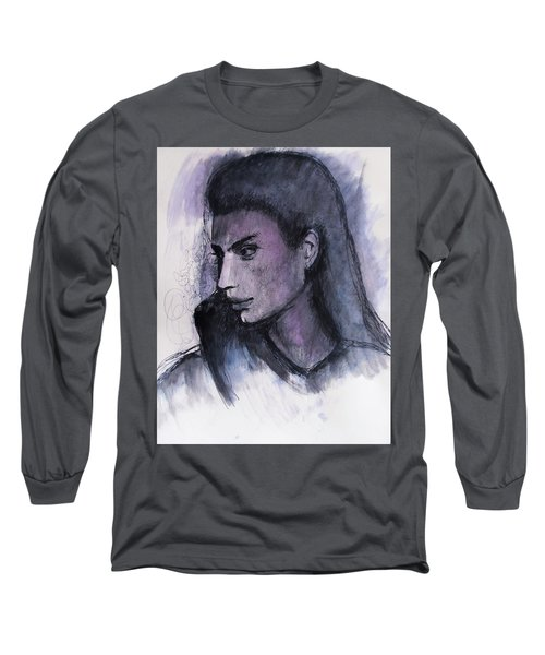 Long Sleeve T-Shirt featuring the drawing The Islander by Jarko Aka Lui Grande