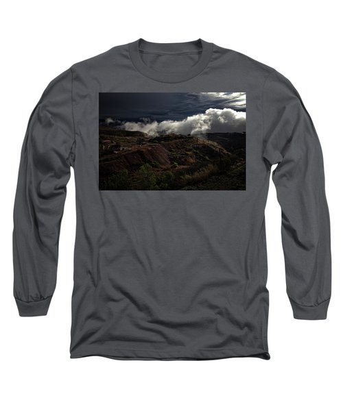 Long Sleeve T-Shirt featuring the photograph The Jerome State Park With Low Lying Clouds After Storm by Ron Chilston