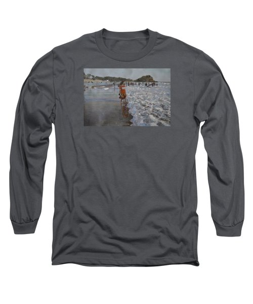Long Sleeve T-Shirt featuring the painting The Konkan Beach by Vikram Singh