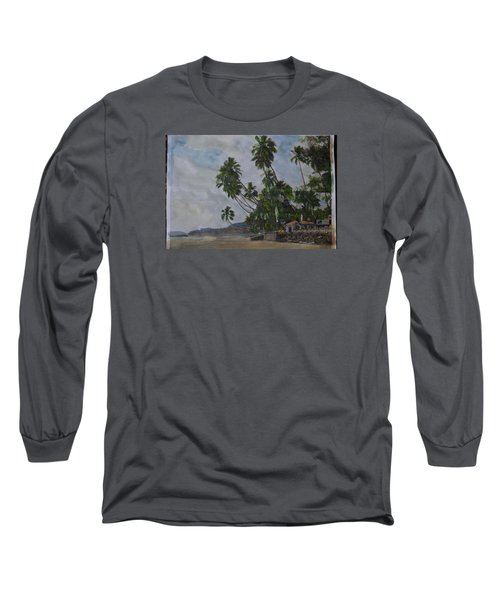 Long Sleeve T-Shirt featuring the painting The Konkan Coastline by Vikram Singh